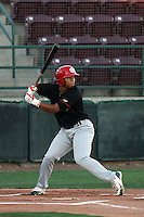 Vancouver Canadians outfielder Michael Choice #15 at bat during a game  vs. the Tri-City Dust devils at Gesa Stadium in Pasco, Washington, on August 15, 2010. Photo By Robert Gurganus/Four Seam Images