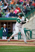 Fort Wayne TinCaps first baseman G.K. Young (15) at bat during a game against the Wisconsin Timber Rattlers on May 10, 2017 at Parkview Field in Fort Wayne, Indiana.  Fort Wayne defeated Wisconsin 3-2.  (Mike Janes/Four Seam Images)