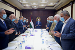 Palestinian President Mahmoud Abbas chairs Fatah Executive Committee meeting, in the West Bank city of Ramallah on June 7, 2021. Photo by Thaer Ganaim