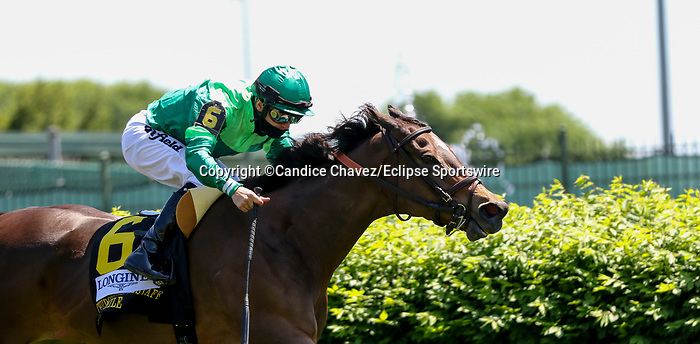 May 1, 2021 : Blowout, #6, ridden by jockey Joel Rosario, wins the Longines Churchill Distaff Turf Mile on Kentucky Derby Day at Churchill Downs on May 1, 2021 in Louisville, Kentucky. Candice Chavez/Eclipse Sportswire/CSM