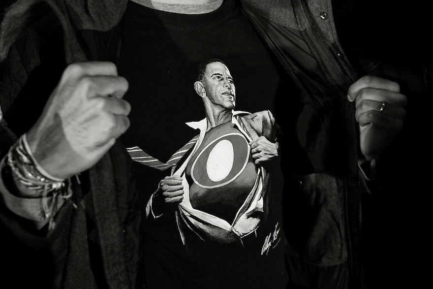 A supporter shows off his teeshirt at a campaign event with U.S. President Barack Obama in Hilliard, OH.
