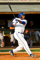 Art Charles #24 of the Bluefield Blue Jays connects for a home run in the 4th inning against the Pulaski Mariners at Bowen Field on July 1, 2012 in Bluefield, West Virginia.  The Mariners defeated the Blue Jays 4-3.  (Brian Westerholt/Four Seam Images)