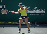 Danka Kovinic (MNE) defeats Belinda Bencic (SUI) 4-6, 6-3, 6-2 at the Family Circle Cup in Charleston, South Carolina on April 8, 2015.