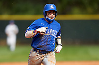 Indiana State Sycamores Brian Fuentes (3) running the bases during the teams opening game of the season against the Pitt Panthers on February 19, 2021 at North Charlotte Regional Park in Port Charlotte, Florida.  (Mike Janes/Four Seam Images)