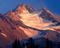 Sunset glow on Mt. Jefferson in the Mt. Jefferson Wilderness; Willamette National Forest, OR