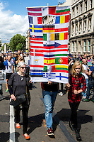 """London, 02/07/2016. Today, more than 60 thousand people marched peacefully from Park Lane to Parliament Square to protest against the EU Referendum result which is leading the United Kingdom to the so called """"Brexit"""", in other words to leave the European Union. Protestors of all ages were present in significant numbers representing all the generations of the British population. On the 23rd of June 2016 the British people voted in the EU Referendum (Turnout 72.2%): 51,9% to leave the EU (17,410,742 Votes) versus 48,1% to remain in the EU (16,141,241 Votes). In the morning of the 24th of June the British Prime Minister David Cameron gave a speech outside 10 Downing Street in which he announced the EU Referendum results and his formal resignation within 3 months. Cameron decision triggered the leadership race in the Conservative Party between the Home Secretary Theresa May MP (backed Remain in the EU Referendum) and the Lord Chancellor and Secretary of State for Justice Michael Gove MP (backed Leave in the EU Referendum). On the 30th of June, the former Mayor of London and major figure in the Leave Campaign, Boris Johnson MP, surprisingly withdrew from the leadership contest. The new leader of the Conservative Party will succeed David Cameron as the new British Prime Minister.<br /> <br /> For more information about the demo please click here: https://www.facebook.com/events/1732671000335981/ & https://www.facebook.com/events/244646665920554/<br /> <br /> For more information about the result please click here: http://www.bbc.co.uk/news/politics/eu_referendum/results"""