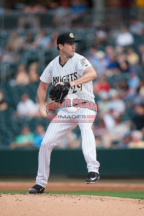 Charlotte Knights starting pitcher Scott Carroll (29) in action against the Syracuse Chiefs at BB&T BallPark on June 1, 2016 in Charlotte, North Carolina.  The Knights defeated the Chiefs 5-3.  (Brian Westerholt/Four Seam Images)