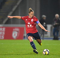 2018013 - LILLE , FRANCE : LOSC's Maud Coutereels pictured during the women soccer game between the women teams of Lille OSC and Paris Saint Germain  during the 13 th matchday for the Championship D1 Feminines at stade Lille Metropole , Saturday 13th of January ,  PHOTO Dirk Vuylsteke | Sportpix.Be