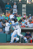 Myrtle Beach Pelicans infielder Andruw Monasterio (16) at bat during a game against the Salem Red Sox at Ticketreturn.com Field at Pelicans Ballpark on June 8, 2018 in Myrtle Beach, South Carolina. Myrtle Beach defeated Salem 5-4. (Robert Gurganus/Four Seam Images)