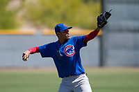 Chicago Cubs shortstop Luis Vazquez (1) during an Extended Spring Training game against the Los Angeles Angels at Sloan Park on April 14, 2018 in Mesa, Arizona. (Zachary Lucy/Four Seam Images)