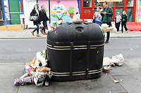 The bins are overflowing in Camden Town as the COVID-19 lockdown restrictions start to ease across the UK on 2nd April 2021