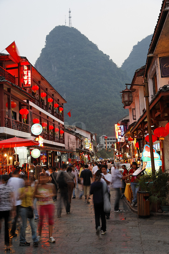 West Street in Yangshuo at dusk, Guanxi, China