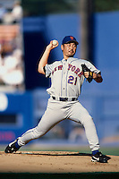 Masato Yoshii of the New York Mets participates in a Major League Baseball game at Dodger Stadium during the 1998 season in Los Angeles, California. (Larry Goren/Four Seam Images)
