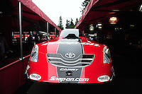 Aug. 5, 2011; Kent, WA, USA; Detailed view of the body for the car of NHRA funny car driver Cruz Pedregon during qualifying for the Northwest Nationals at Pacific Raceways. Mandatory Credit: Mark J. Rebilas-