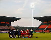 Reading women team huddle during Tottenham Hotspur Women vs Reading FC Women, Barclays FA Women's Super League Football at the Hive Stadium on 7th November 2020