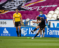 22nd August 2020; The John Smiths Stadium, Huddersfield, Yorkshire, England; Rugby League Coral Challenge Cup, Catalan Dragons versus Wakefield Trinity; James Maloney of Catalan Dragons kicks a second conversion
