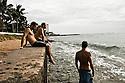 Brendon Backshall, Jason Finlay and Joe Clark in Waikiki on Oahu in Hawaii