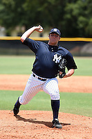 GCL Yankees 2 pitcher Jonathan Holder (56) delivers a warmup pitch during a game against the GCL Braves on June 23, 2014 at the Yankees Minor League Complex in Tampa, Florida.  GCL Yankees 2 defeated the GCL Braves 12-4.  (Mike Janes/Four Seam Images)