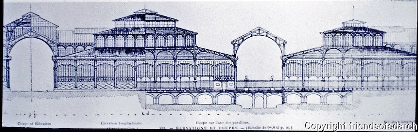 Cross section of Les Halles Centrales in Paris, 1853. Victor Baltard. It was Paris's central food market until demolished in 1971. Glass and iron structure.
