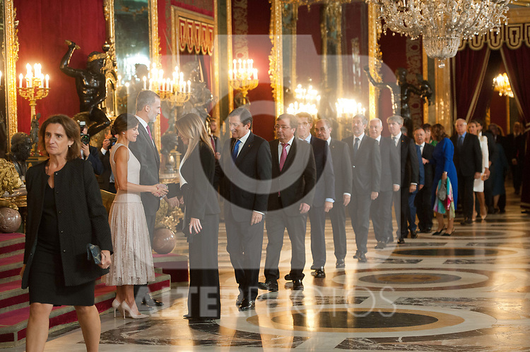 Queen Letizia of Spain, King Felipe VI of Spain and Susana Diaz attends to Sapnish National Day palace reception at the Royal Palace in Madrid, Spain. October 12, 2018. (ALTERPHOTOS/A. Perez Meca)