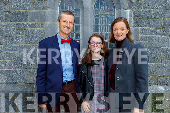 Grace Foley of Firies with her parents Kat and Jerome at her Confirmation in St Gertrude's Firies on Saturday.