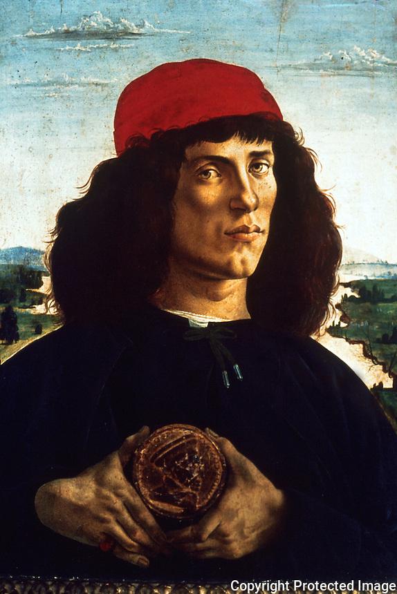Renaissance Art:  Botticelli--The Man with the Medal--Portrait of a Man.  Galleria Uffizi.