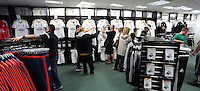 Saturday, 06 June 2015<br /> Pictured: Shoppers in the club shop<br /> Re: Swansea City FC new home kit launch at the club shop of the Liberty Stadium, south Wales, UK.