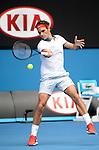 Roger Federer (SUI) defeats Teymuraz Gabishvili (RUS) 6-2, 6-2, 6-3  at the Australian Open in Melbourne, Australia on January 2014