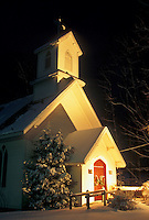 AJ4659, church, Christmas, winter, Vermont, Cavalry Episcopal Church in Underhill with Christmas decorations in the snow at night in Chittenden County in the state of Vermont.