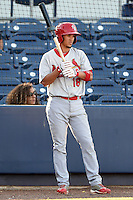 Palm Beach Cardinals first baseman Ildemaro Vargas (18)on deck  during a game against the Charlotte Stone Crabs on April 12, 2014 at Charlotte Sports Park in Port Charlotte, Florida.  Palm Beach defeated Charlotte 6-2.  (Mike Janes/Four Seam Images)