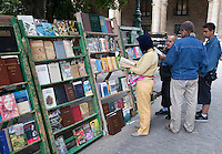 Cuba, Havana.  Booksellers, Plaza de Armas.