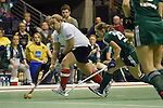 Berlin, Germany, February 01: Sabine Markert #6 of Duesseldorfer HC runs with the ball during the 1. Bundesliga Damen Hallensaison 2014/15 final hockey match between Duesseldorfer HC (white) and HTC Uhlenhorst Muehlheim (green) on February 1, 2015 at the Final Four tournament at Max-Schmeling-Halle in Berlin, Germany. Final score 4-1 (1-0). (Photo by Dirk Markgraf / www.265-images.com) *** Local caption ***