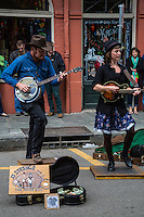 "French Quarter, New Orleans, Louisiana.  Street Performers, Royal Street.  Tap Dancer and Banjo Player.  ""13 Strings and a Two Dollar Bill."""