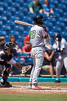 Petey Halpin (29) of the Lynchburg Hillcats at bat against the Kannapolis Cannon Ballers at Atrium Health Ballpark on August 29, 2021 in Kannapolis, North Carolina. (Brian Westerholt/Four Seam Images)