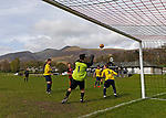 Keswick 1 Kendal 1, 15/04/2017. Fitz Park, Westmoreland League. The Kendal goalkeeper collects a corner. Photo by Paul Thompson.