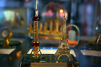 CHINA. Shanghai. Models of Shanghai's Oriental Pearl Tower and France's Eiffel Tower. 2008