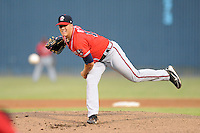 Rome Braves starting pitcher Blaine Sims #16 delivers a pitch during game two of a double header against the Asheville Tourists at McCormick Field on June 4, 2013 in Asheville, North Carolina. The Tourists won the game 3-0. (Tony Farlow/Four Seam Images)