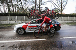 Philippe Gilbert (BEL) Lotto-Soudal gets bidons from the team car during a wet Stage 2 of the 78th edition of Paris-Nice 2020, running 166.5km form Chevreuse to Chalette-sur-Loing, France. 9th March 2020.<br /> Picture: ASO/Fabien Boukla | Cyclefile<br /> All photos usage must carry mandatory copyright credit (© Cyclefile | ASO/Fabien Boukla)