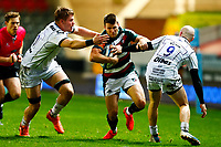 21st November 2020; Welford Road Stadium, Leicester, Midlands, England; Premiership Rugby, Leicester Tigers versus Gloucester Rugby; Richard Wigglesworth of Leicester Tigers attempts to break through the Gloucester Rugby defence