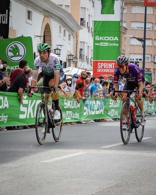 Intermediate sprint point for the breakaway during Stage 5 of La Vuelta d'Espana 2021, running 184.4km from Tarancón to Albacete, Spain. 18th August 2021.    <br /> Picture: Cxcling | Cyclefile<br /> <br /> All photos usage must carry mandatory copyright credit (© Cyclefile | Cxcling)