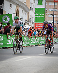 Intermediate sprint point for the breakaway during Stage 5 of La Vuelta d'Espana 2021, running 184.4km from Tarancón to Albacete, Spain. 18th August 2021.    <br /> Picture: Cxcling   Cyclefile<br /> <br /> All photos usage must carry mandatory copyright credit (© Cyclefile   Cxcling)