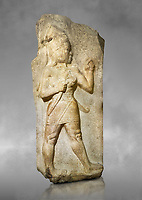 Relief of God of War. Limestone, Kings Gate, Hattusa ( Bogazkoy ). 14th - 13th Century BC. Anatolian Civilisations Museum, Ankara, Turkey.<br /> <br /> The warrior depicted in high relief is dressed in a decorated skirt. The relief takes place on the interior part of the King's gate facing city, to the east of the city walls. He carries a crescent-handled short sword in his belt. The relief is identified as god depiction since the horns on the headdress are the indication of a god.<br /> <br /> Against a Grey art background.