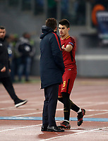 Football Soccer: UEFA Champions League AS Roma vs Qarabag FK Stadio Olimpico Rome, Italy, December 5, 2017. <br /> Roma's Diego Perotti (r) greets Roma's coach Eusebio Di Francesco (l) after leaving the pitch during the Uefa Champions League football soccer match between AS Roma and Qarabag FK at at Rome's Olympic stadium, December 05, 2017.<br /> UPDATE IMAGES PRESS/Isabella Bonotto