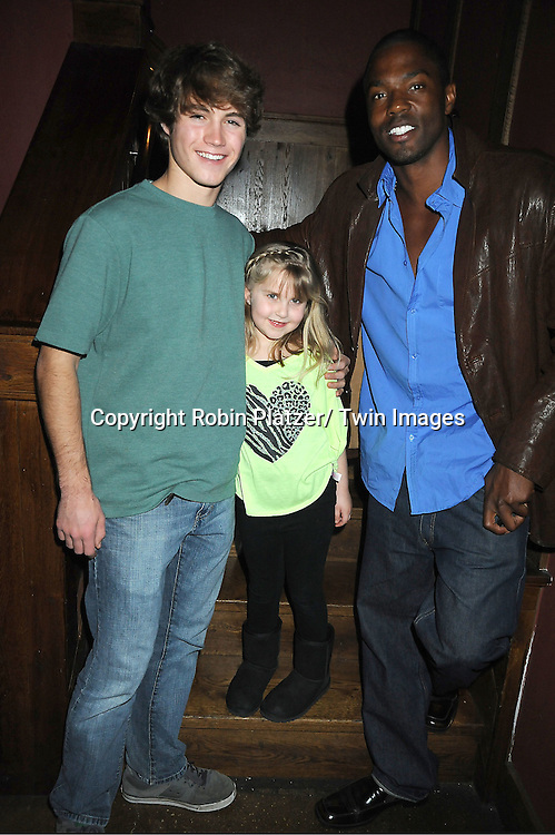 Andrew Trischitta, Stephanie Schmahl and Tobias Truvillion attend The One Life To Live Benefit for The Amber Roach Memorial Garden on January 7, 2012 at Brother ..Jimmy's BBQ Union Square Restaurant in New York City.