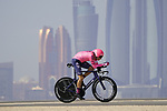 Neilson Powless (USA) EF Education-Nippo during Stage 2 of the 2021 UAE Tour an individual time trial running 13km around  Al Hudayriyat Island, Abu Dhabi, UAE. 22nd February 2021.  <br /> Picture: Eoin Clarke | Cyclefile<br /> <br /> All photos usage must carry mandatory copyright credit (© Cyclefile | Eoin Clarke)