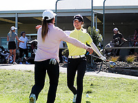 Sieun Ha hugs Darae Chung (left). Day two of the Renaissance Brewing NZ Stroke Play Championship at Paraparaumu Beach Golf Club in Paraparaumu, New Zealand on Friday, 19 March 2021. Photo: Dave Lintott / lintottphoto.co.nz
