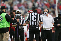 Arkansas head coach Sam Pittman looks on as an official reviews a play, Saturday, November 21, 2020 during the third quarter of a football game at Donald W. Reynolds Razorback Stadium in Fayetteville. Check out nwaonline.com/201122Daily/ for today's photo gallery. <br /> (NWA Democrat-Gazette/Charlie Kaijo)