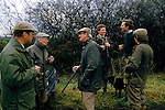 Game bird shoot private country estate Burley of the Hill Leicestershire 1980s UK. Men are drinking from silver goblets 1985<br /> Joss Hanbury ( right back without hat) 1980s.