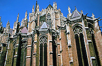 Amiens Cathedral in Amiens, France. Classic example of the High Gothic style of Gothic architecture and also has some features of the later Rayonnant style in the enlarged high windows of the choir, added in the mid-1250s. Largest cathedral in France.