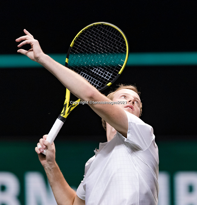 Rotterdam, The Netherlands, 2 march  2021, ABNAMRO World Tennis Tournament, Ahoy, First round match: Botic Van De Zandschulp (NED). <br /> Photo: www.tennisimages.com/henkkoster